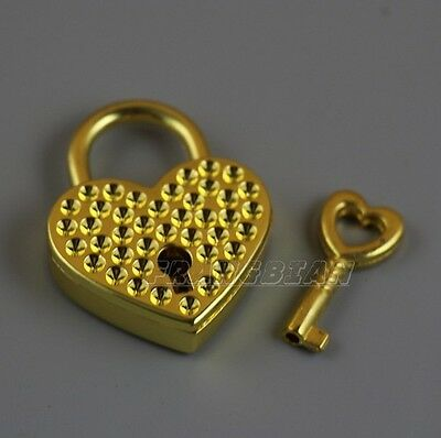 1X Vtg old look GOLD Heart Shaped Padlock & Skeleton Key Wedding Bow Lock
