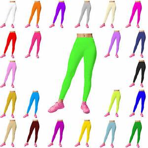 New Girls Children Kids Footless Leggings Ballet Dance Gymnastics Shiny Nylon