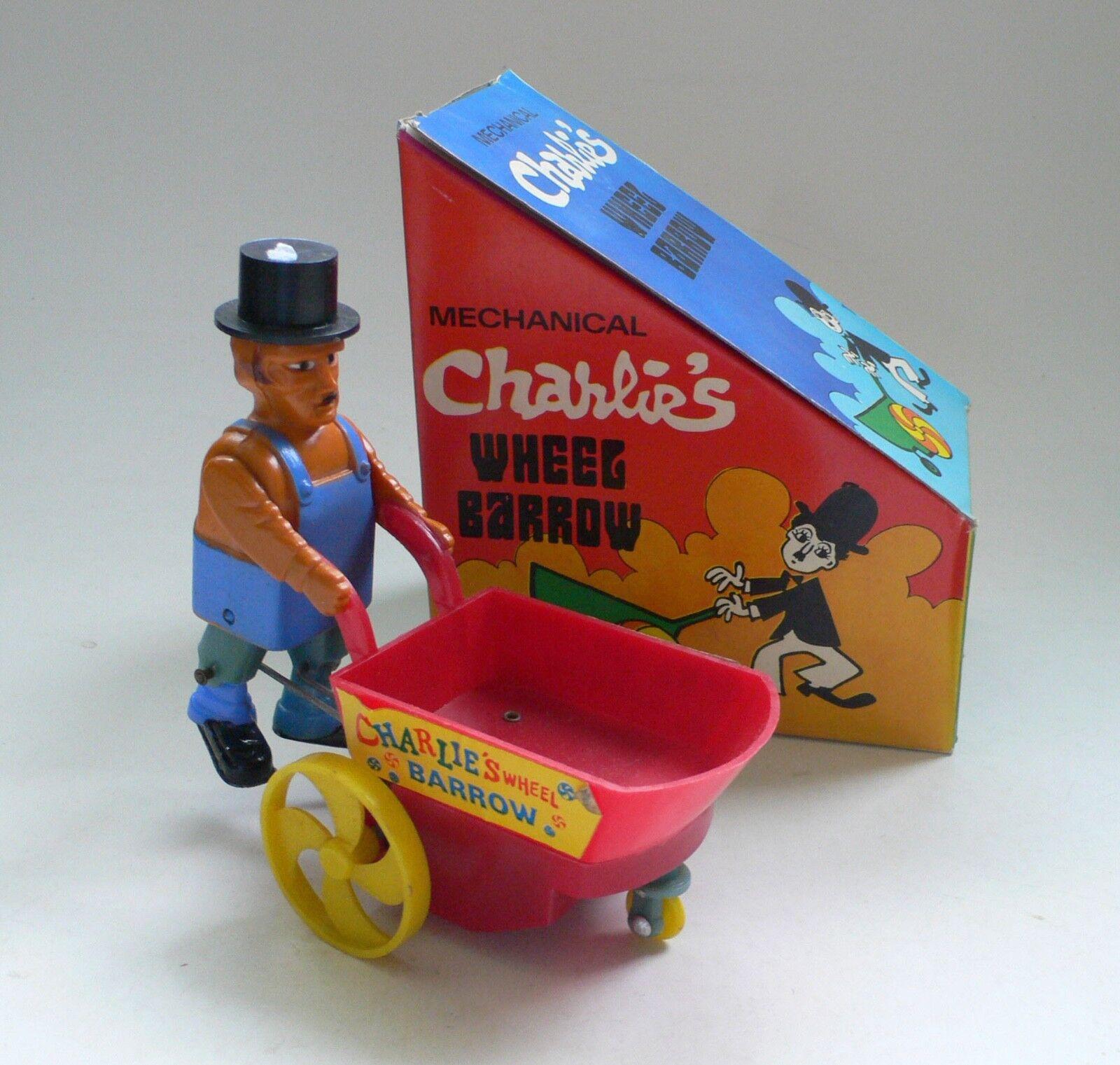 Vintage Mechanical CHARLIE'S WHEEL BARROW Charlie Chaplin Toy MIB 1960's
