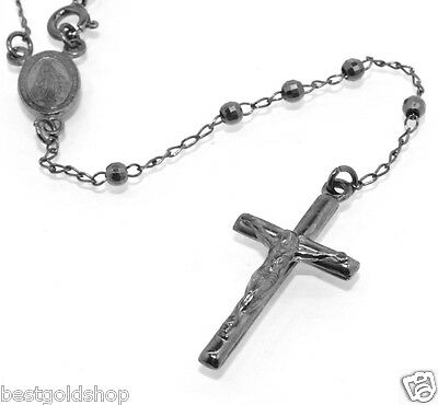 """3mm 30/"""" Italian Rosary Chain Necklace Cross Crucifix Real 925 Sterling Silver"""