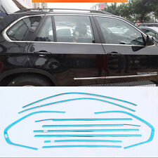 10pcs Stainless Steel Chrome Full Window Frame Sill Trim For BMW X5 2008-2013