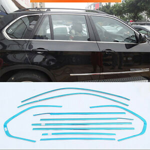 10pcs-Stainless-Steel-Chrome-Full-Window-Frame-Sill-Trim-For-BMW-X5-2008-2013