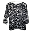 thumbnail 5 - Ann Taylor Womens Top Scoop Neck Puff Sleeve Blouse Black White Work Size Medium