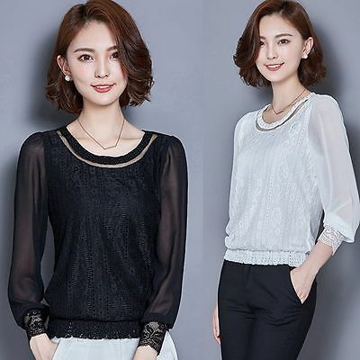 2018 Women Elegant Beaded Long Sleeve Casual Lace Chiffon Blouse Shirt Tops