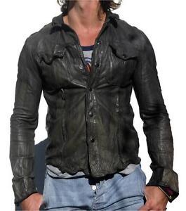 Men-039-s-Gents-Black-Adjustable-Collar-Casual-Shirt-Soft-Leather-Shirt-Jacket-LS009
