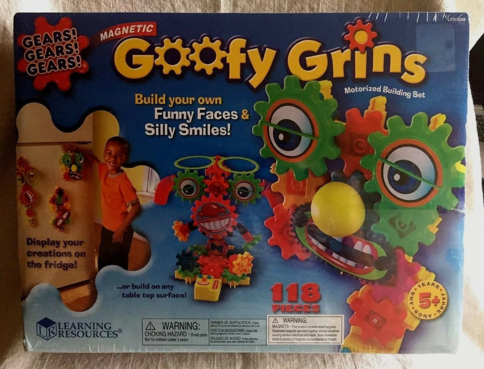 BRAND NEW SEALED Goofy Grins Magnetic Gears 118 Pieces Motorized Learning Faces