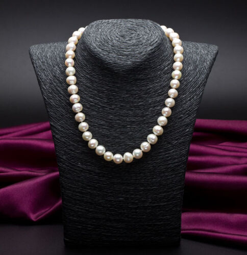 9-10mm White Cultured Freshwater Pearl Necklace with a free stud earrings