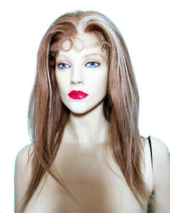 Human-Hair-Indian-Remi-Remy-Full-Lace-Wig-Silk-Top-PU-Thin-Skin-Brown-Blonde-Mix