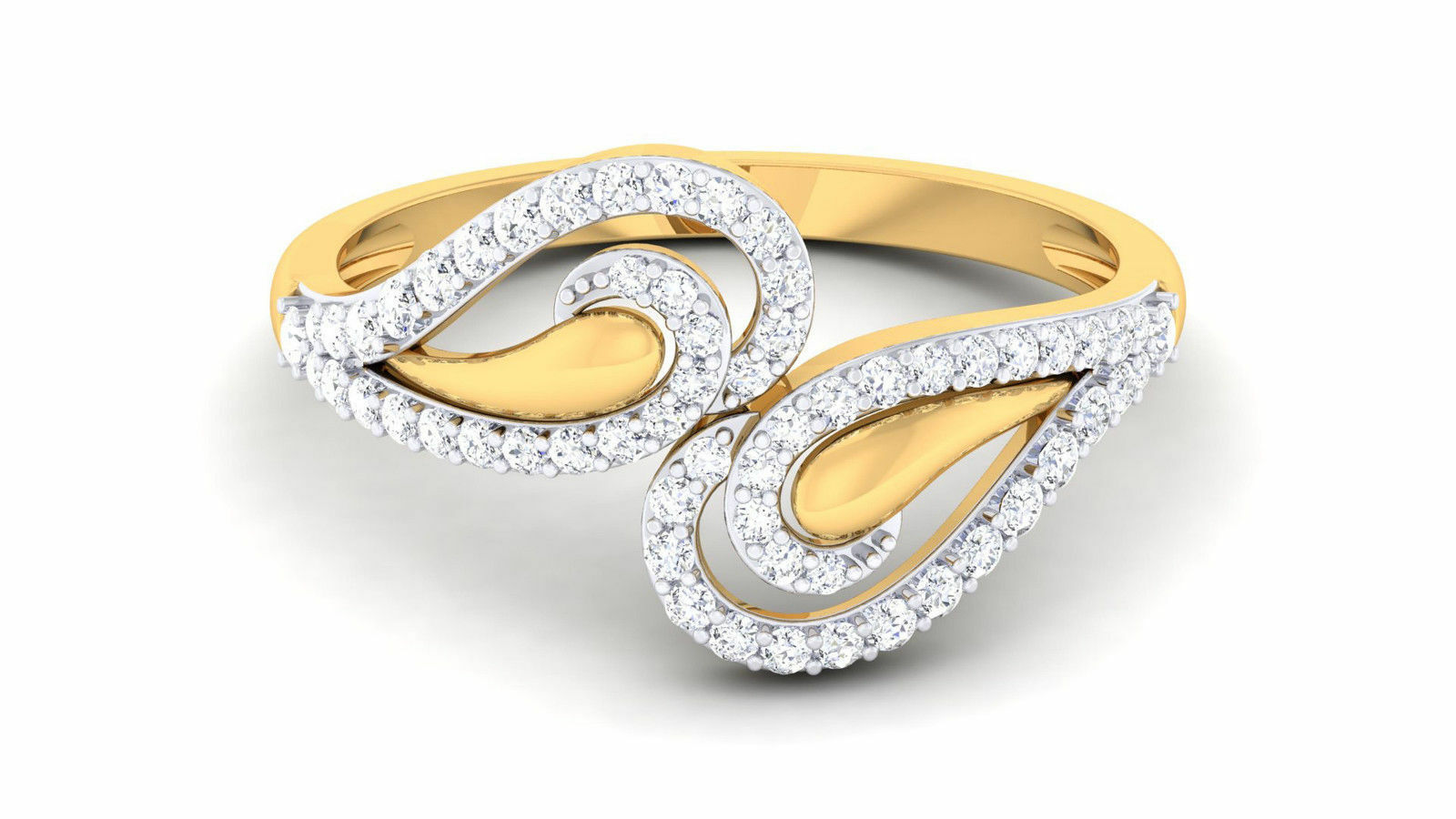 0.63 Cts Round Brilliant Cut Diamonds Engagement Ring In Solid Hallmark 18K gold