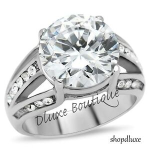 7-35-Ct-Round-Cut-AAA-CZ-Stainless-Steel-Engagement-Ring-Band-Women-039-s-Size-5-10