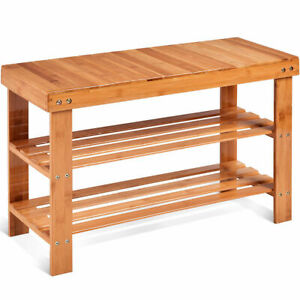 3 Tier Bamboo Shoe Rack Bench Storage Shelf Organizer Entryway Home Furni New