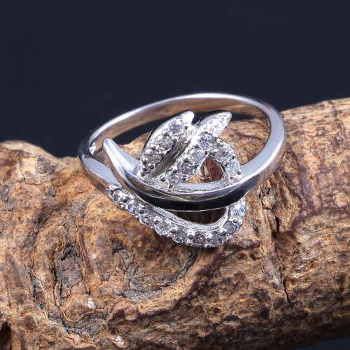 925 Sterling Silver Created Diamond Unique Wedding Ring Free Shipping AJ109