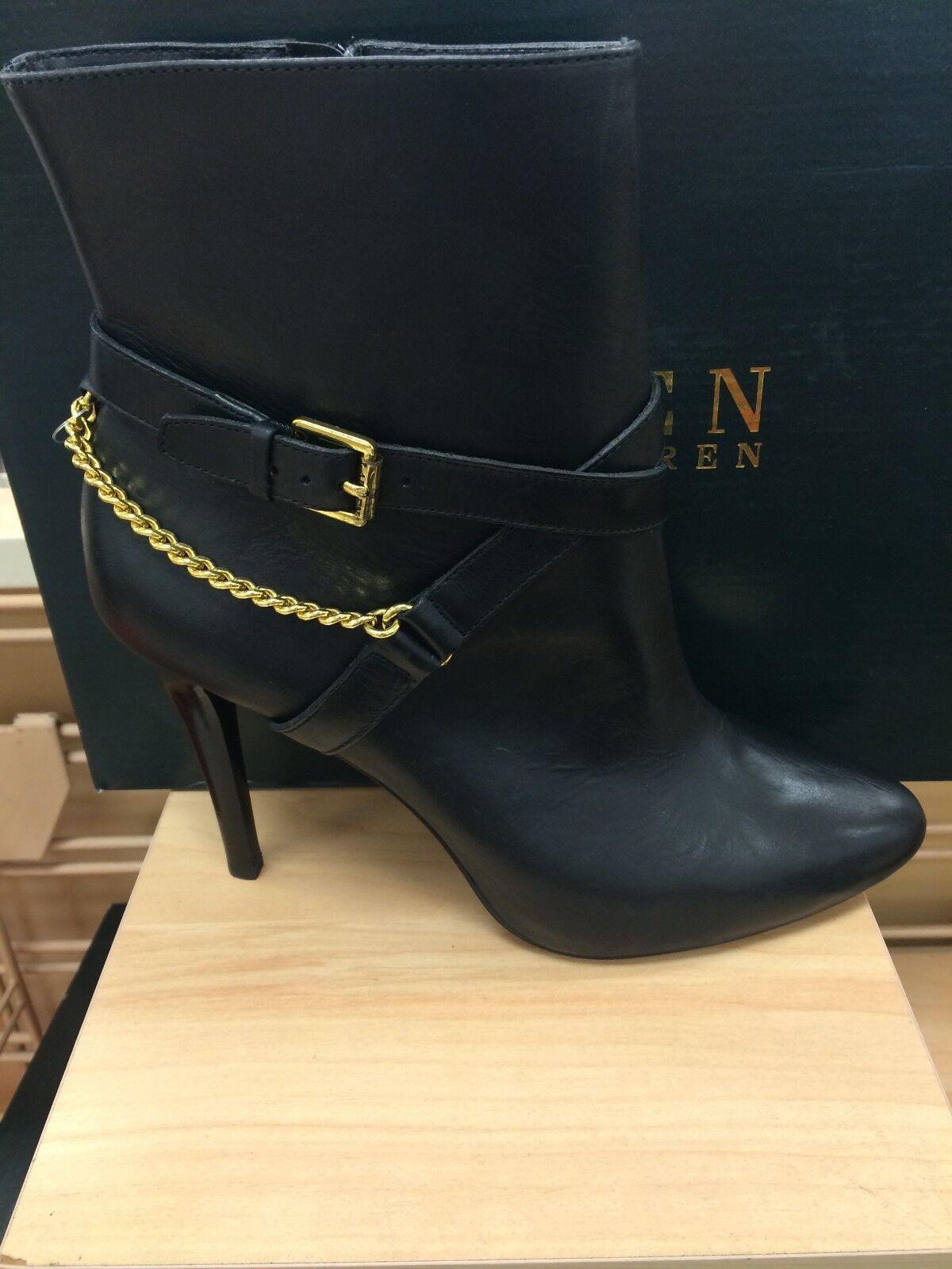 Lauren Ralph Lauren Laurie Women's Above Ankle Leather Boots Booties Heels Black