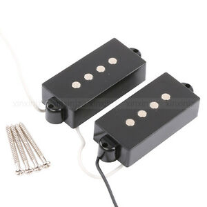 Black 4 String Noiseless Pickup Set For Precision P Bass Guitar