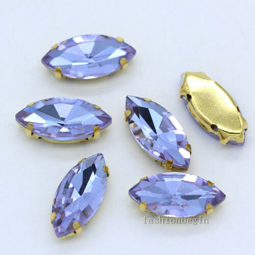 12p 17x32mm faceted glass crystal navette sew on flatback rhinestone gold bottom