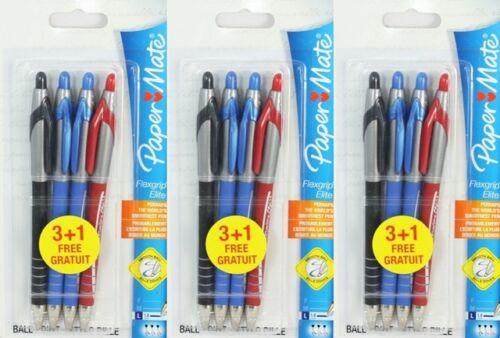 Pack 12 Papermate Flexgrip Elite Retractable Ballpoint Pens Broad Black Red Blue