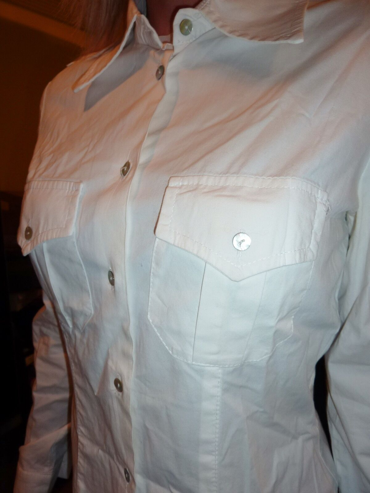 Contatto Italian button down white stretch cotton… - image 4