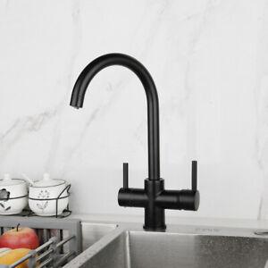 Black Drinking Water Purifier Faucet Swivel Kitchen Sink Mixer Tap Doube Handle Ebay
