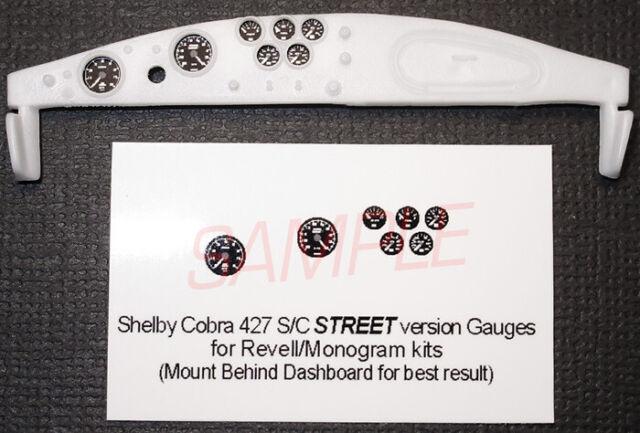 SHELBY COBRA 427 S/C STREET VERSION GAUGE FACES for 1/24 REVELL-MONOGRAM kits