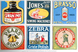 6x-6-inch-ceramic-WALL-TILES-Vintage-Enamel-Advertising-Signs-Style-Antique-Look