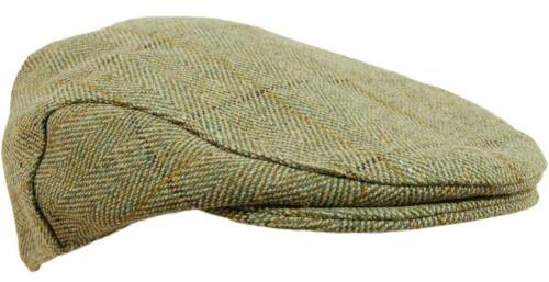 D35 Mens Light Derby Tweed Flat Cap Teflon Coated Sizes S XXL