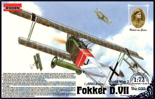 FOKKER D VII ALB LATE (R.VON GREIM KAIZERLICHE LUFTWAFFE ACE MKGS) 1/72 RODEN