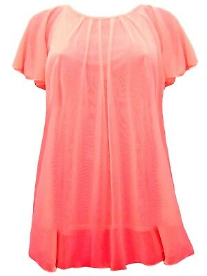 Womens New Mesh Lined Tunic Top Angel Sleeve Red  Plus Size Ladies *LICK*