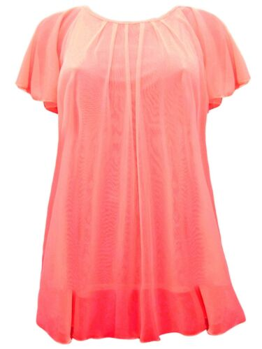 Womens Plus Size 16-30 New Coral Mesh Lined Tunic Angel Sleeve Top Ladies