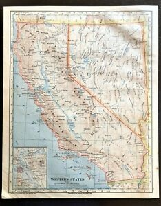 Vintage Color Map Detailed California Nevada San Francisco