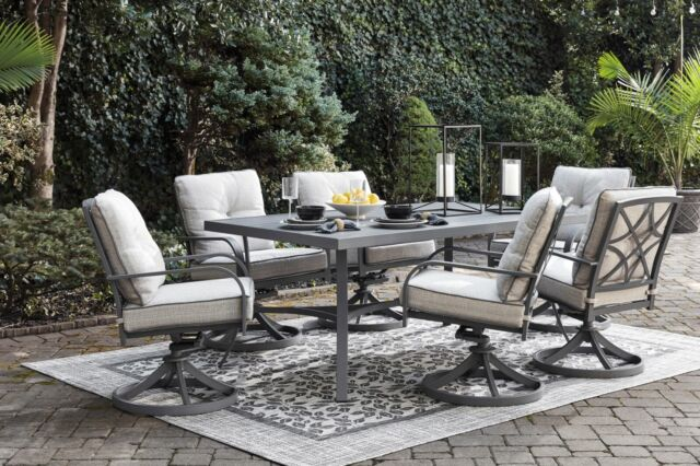 Ashley Furniture Donnalee Bay Outdoor Lounge Dining Table Swivel 7 Piece Set