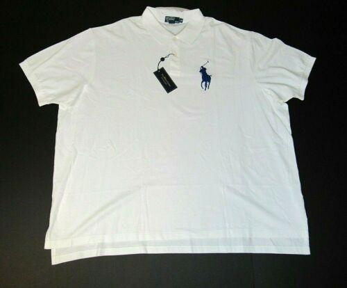 POLO RALPH LAUREN Big Pony Classic Fit Mesh Shirt White Bright Royal BIG TALL