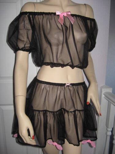 Nylon sheer Gypsy top Black pink BANDEAU Crop Off shoulder One size Adult Party