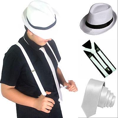 White Slim Necktie, Fedora Straw Hat & suspenders Gangster Mafia 1920s Costume