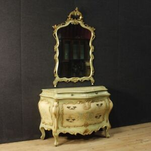 Com laccato cassettone specchiera specchio 4 cassetti stile antico legno dorato ebay - Specchio dorato antico ...