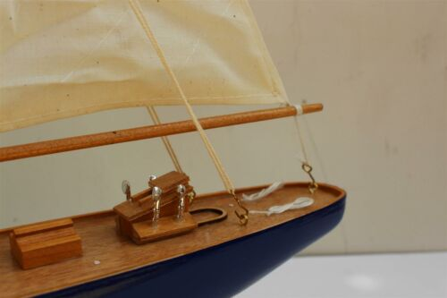 Detailed wooden display model J Class Dark Blue Hull yacht