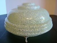 1930s Large Art Deco Hanging Glass Ceiling Light Shade Fly Catcher Mottled Green