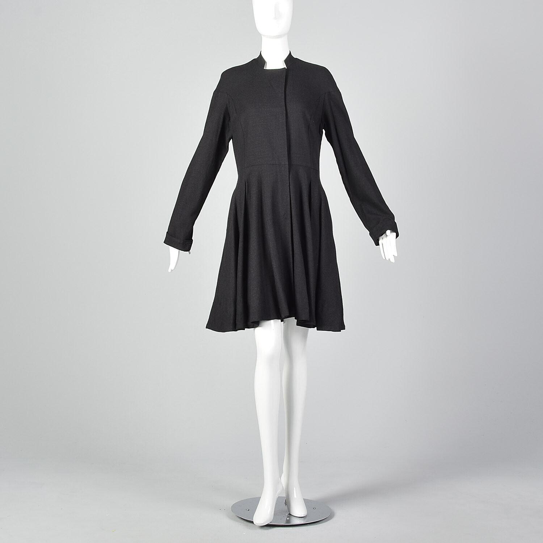 Medium Gary Graham 2000s Wool Princess Coat Charc… - image 2