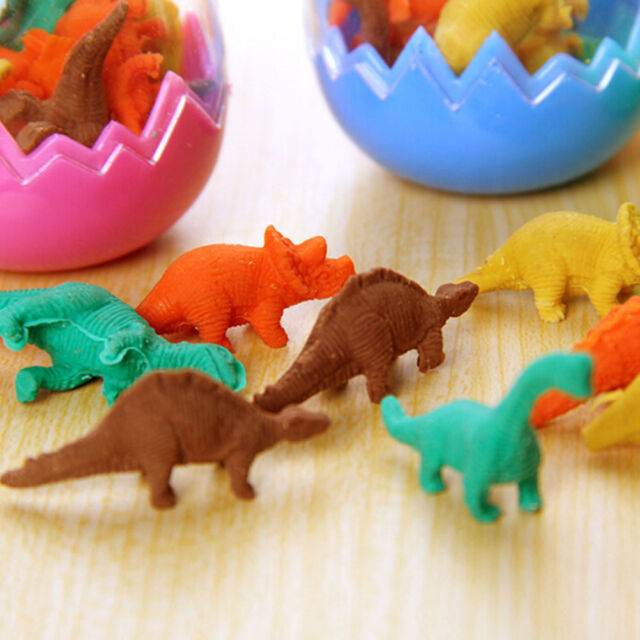 8X Dinosaurs Egg Pencil Rubber Eraser Students Office Stationery Kid Toy WG