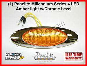 1-PANELITE-MILLENNIUM-LED-M1-AMBER-MARKER-LIGHT-4-DIODE-wCHROME-BEZEL-6-5-INCH