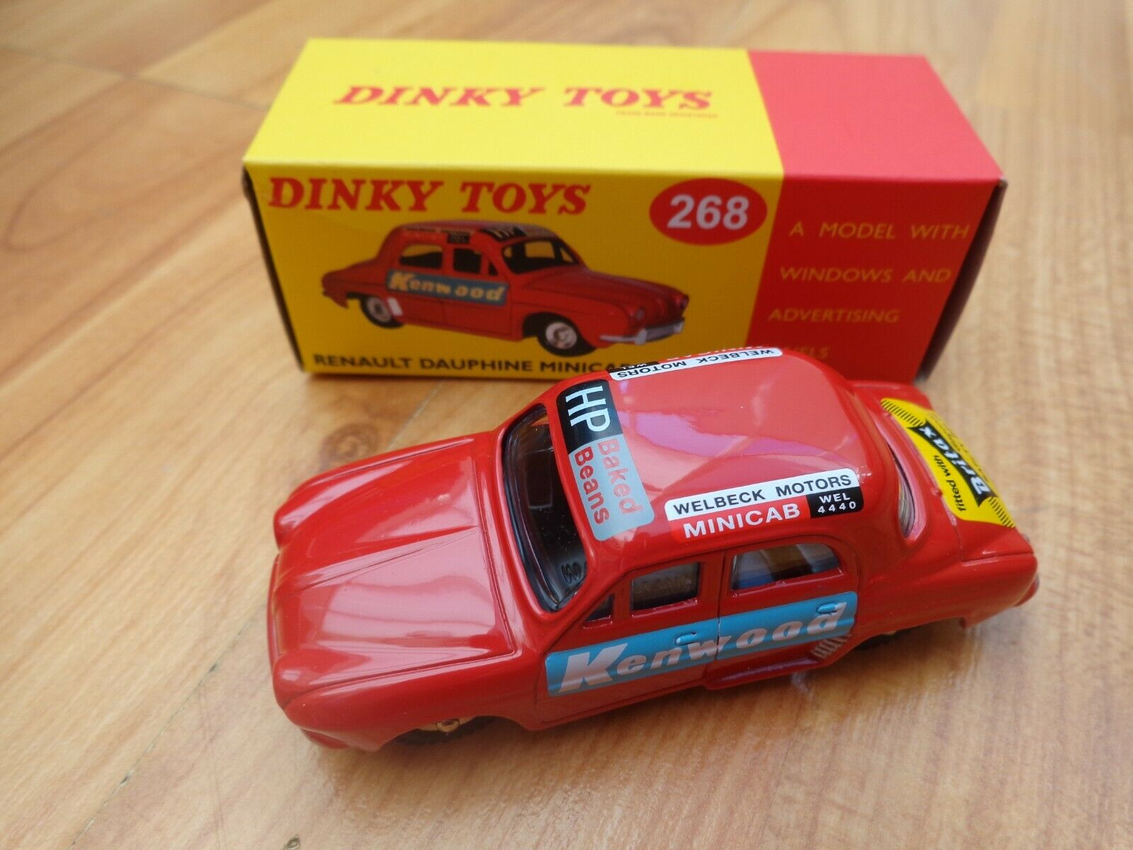 DINKY TOYS 268 RENAULT DAUPHINE MINICAB CAR - NEW BOXED - ATLAS EDITIONS