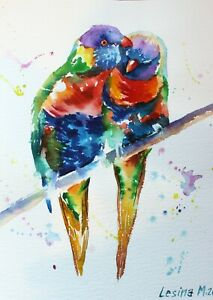 Parrots-original-watercolor-painting-Colorful-modern-art-Birds-wall-art-Animal