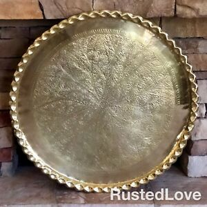 36-034-XL-Moroccan-Solid-Brass-Etched-Tray-Table-top-Vintage-Scalloped-Rim-OLD