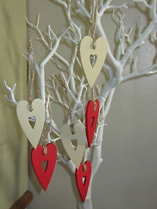 Fabulous Details About Handpainted Christmas Decorations Prim Hearts Red Cream Pack Of 6 Shabby Chic Download Free Architecture Designs Rallybritishbridgeorg