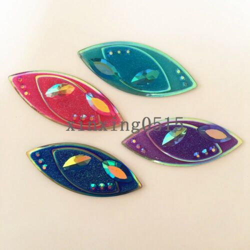 New DIY 8PCS 20*48mm AB Resin horse eye flatback 3D Rhinestone Wedding buttons