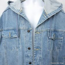 VTG Jacket Blue Zone Denim Mens Heavy Drawstring Hood XL Hoody Hoodie Trucker