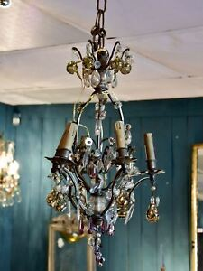 Antique italian chandelier with murano glass fruits ebay image is loading antique italian chandelier with murano glass fruits aloadofball Gallery