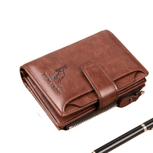 2021 Fashion Men's Coin Wallet Leather Money RFID Blocking Zipper Clip Pocket