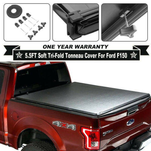 For Ford F150 Soft Leather Tri-Fold 2014-2018 5.5ft Truck Bed Tonneau Cover