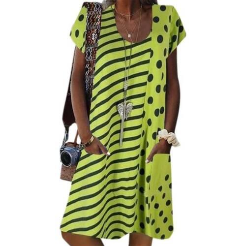 Women Ladies Summer Smock Dress Holiday Beach Casual Loose Kaftan Tunic Sundress