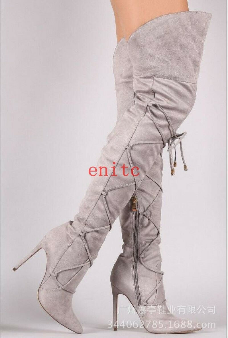 Solid color Suede Pointy Pointy Pointy Toe Lace Up Over Knee Thigh High Boots Womens Long Boot 2bc7bf